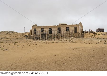 Kolmanskop. Namibia  - January 8.2021: German Kolmanskop - Kolmannskuppe Ghost Town In Namibia With