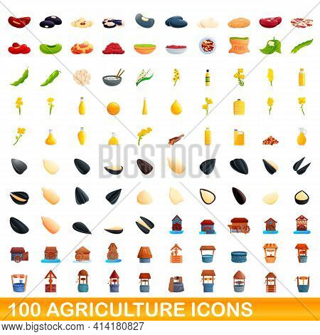 100 Agriculture Icons Set. Cartoon Illustration Of 100 Agriculture Icons Vector Set Isolated On Whit