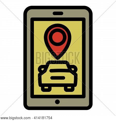 Smartphone Car Sharing Icon. Outline Smartphone Car Sharing Vector Icon For Web Design Isolated On W