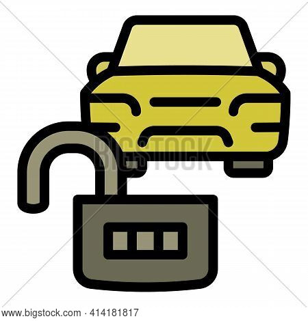 Unlock Car Sharing Icon. Outline Unlock Car Sharing Vector Icon For Web Design Isolated On White Bac