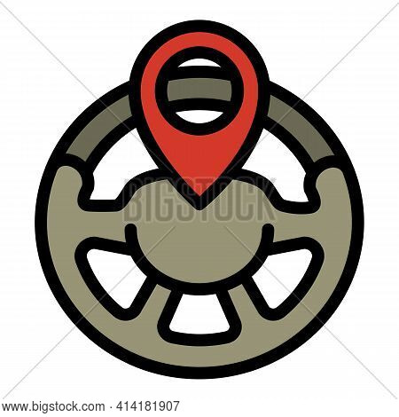 Car Sharing Steering Wheel Icon. Outline Car Sharing Steering Wheel Vector Icon For Web Design Isola