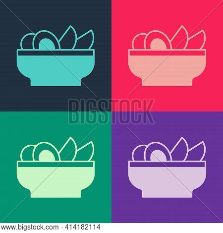 Pop Art Nachos In Plate Icon Isolated On Color Background. Tortilla Chips Or Nachos Tortillas. Tradi