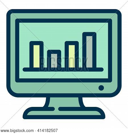 Result Graph Online Vote Icon. Outline Result Graph Online Vote Vector Icon For Web Design Isolated