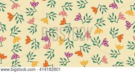 Hand Drawn Florals Toss Seamless Vector Pattern