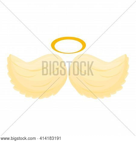 Heaven Angel Wings Icon. Cartoon Of Heaven Angel Wings Vector Icon For Web Design Isolated On White