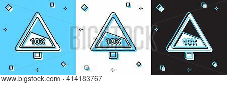 Set Steep Ascent And Steep Descent Warning Road Icon Isolated On Blue And White, Black Background. T