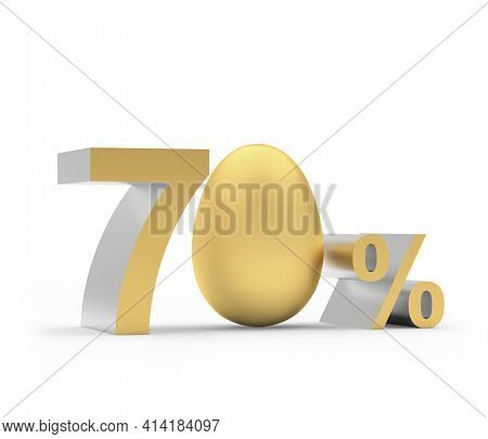 Seventy Percent Discount With Golden Easter Egg Isolated On White. 3d Illustration
