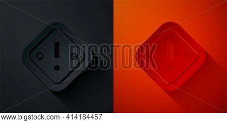 Paper Cut Exclamation Mark In Triangle Icon Isolated On Black And Red Background. Hazard Warning Sig