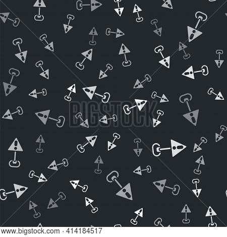 Grey Exclamation Mark In Triangle Icon Isolated Seamless Pattern On Black Background. Hazard Warning