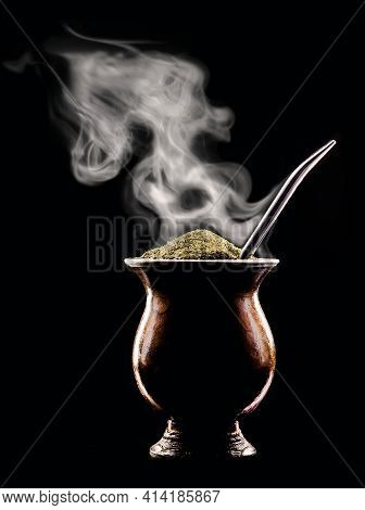 Hot Chimarrão, A Typical Drink From Brazil And South America, Releasing Boiling Waves Of Steam