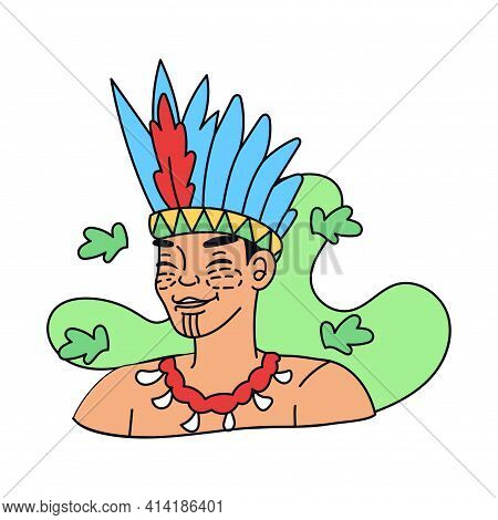Indigenous To The Colombian Amazon. Colombian Culture - Vector