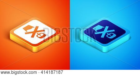 Isometric No Alcohol Icon Isolated On Orange And Blue Background. Prohibiting Alcohol Beverages. For