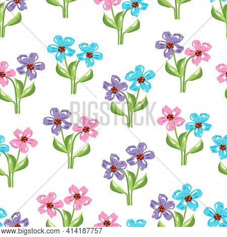 Floral Seamless Pattern With Small Wild Pink, Blue And Violet Flowers Green Leaves On White Backgrou