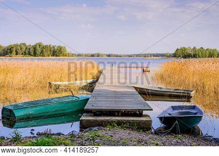 Beautiful Landscape With A Lake And A Boat Dock. Vuoksa Lake - A Picturesque Lake In Leningradskaya