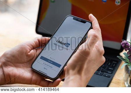 Chiang Mai, Thailand: Mar 20, 2021: Linkedin Logo On Phone Screen. Linkedin Is A Social Network For