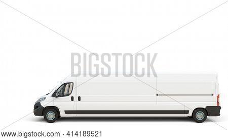 very long white transport van, cargo capacity concept. 3d render.