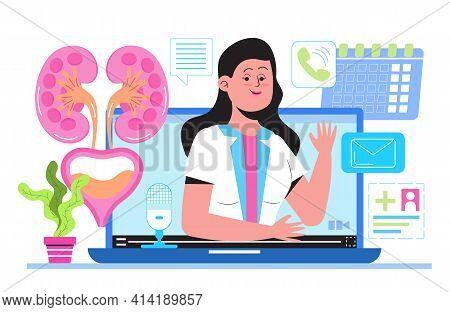Urologist Online Consultation, Nephritis Illustration. Doctor Treat Kidneys. Pyelonephritis And Kidn