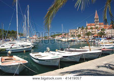 Boats in Milna on Brac island in Croatia