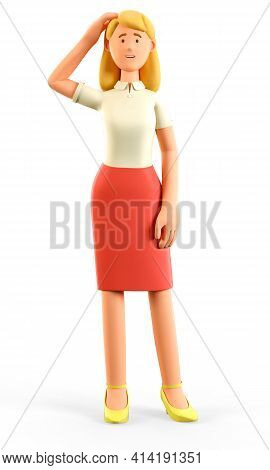 3d Illustration Of Confused Thinking Beautiful Blonde Woman Scratching Her Head. Cartoon Pensive Att