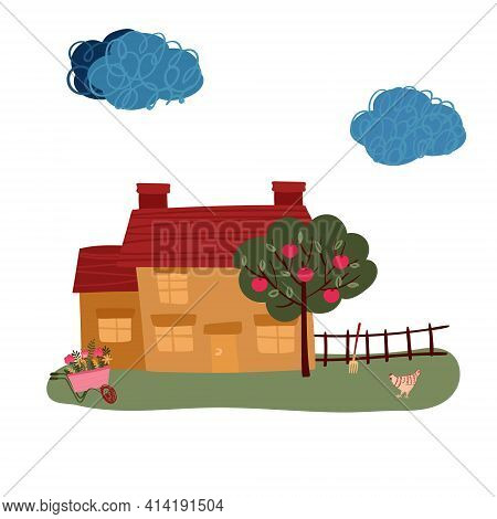 House With Chimney In Village. Villa With Apple Tree And Chicken In Valley. Summer Time In Farm. Cot