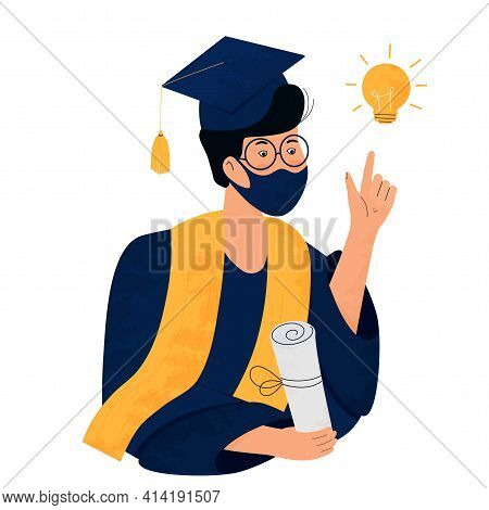 A Student In A Protective Mask Holds A Diploma In Her Hand. Graduate In Gown And Mortarboard Celebra