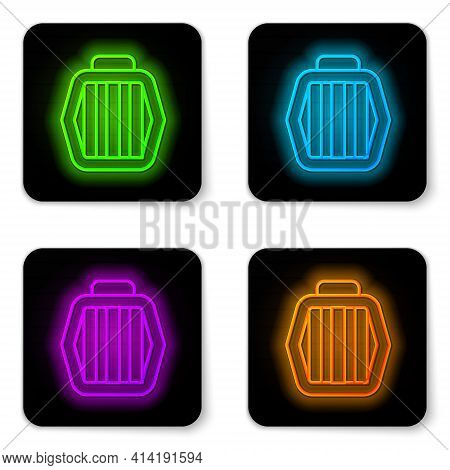 Glowing Neon Line Pet Carry Case Icon Isolated On White Background. Carrier For Animals, Dog And Cat