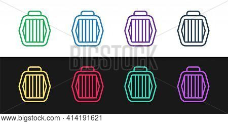 Set Line Pet Carry Case Icon Isolated On Black And White Background. Carrier For Animals, Dog And Ca