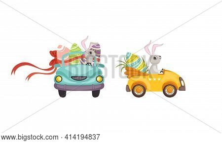 Little Bunny Driving Vehicle Carrying Olored Easter Eggs Vector Set