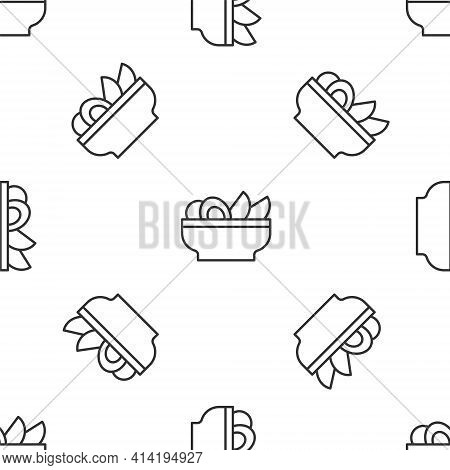 Grey Line Nachos In Plate Icon Isolated Seamless Pattern On White Background. Tortilla Chips Or Nach
