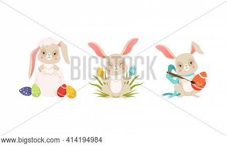 Cute Easter Bunny Hatching And Decorating Egg Vector Set