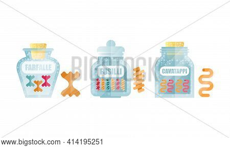 Glass Jar Filled With Dry Macaroni Product With Farfalle And Fusilli Vector Set