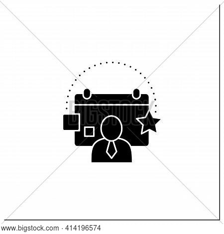 Customer Events Glyph Icon.emphasize Biggest Achievements, Present Products, Keep Good Contact With