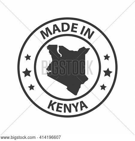 Made In Kenya Icon. Stamp Made In With Country Map
