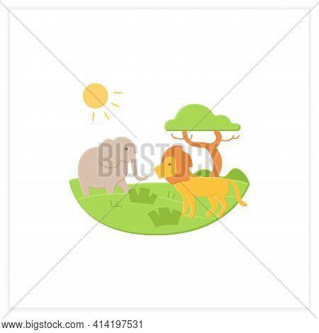 Savanna Flat Icon. Living Place For Powerful Predators. Grasslands Biome. Dangerous Place. Lion, Ele