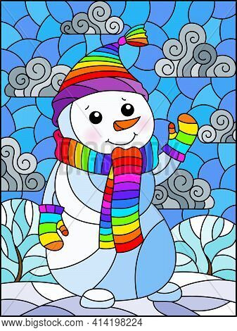 An Illustration In The Style Of A Stained Glass Window On The Theme Of Winter Holidays, A Cheerful C