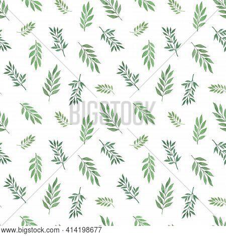Green Leaves In Randomly Arranged Seamless Pattern Hand Drawn Botanical Floral Watercolor Illustrati