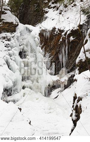 Zhenetskyi ( Zhenetsʹkyy ) Huk Waterfall, Frozen Waterfall At Winter, Carpathian National Park, Gorg