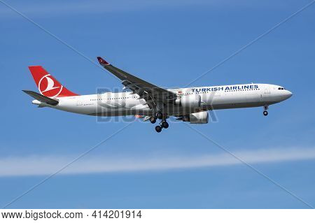 Istanbul, Turkey - March 28, 2019: Turkish Airlines Airbus A330-300 Tc-joh Passenger Plane Landing A