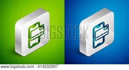 Isometric Line Mobile Banking Icon Isolated On Green And Blue Background. Transfer Money Through Mob