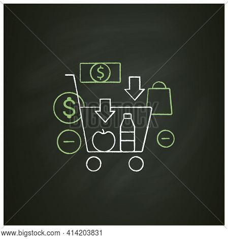 Buy Less Chalk Icon.basket With Necessary Products. Milk, Fruit. Thoughtful Spending Money. Purchase