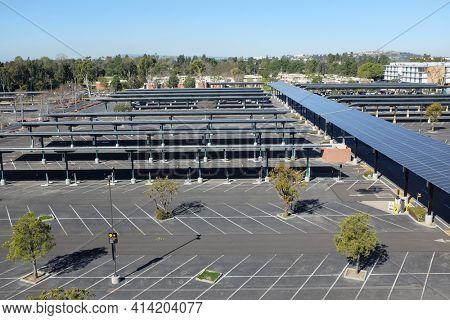 LONG BEACH, CALIFORNIA - 16 MAR 2021: Solar Panels in the Parking lot at California State University Long Beach.