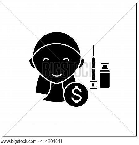 Cosmetic Injection Glyph Icon. Perfect Procedure Price.happy Customer.vaccine Recruitment.vaccinatio
