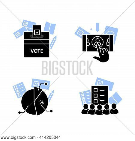Election Glyph Icons Set.election Box, Electoral Colegue, Voting Poll. Choice, Vote Concept. Democra