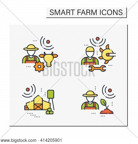 Smart Farm Color Icons Set. Consist Of Machinery Technician, Animal Breeder, Agronomist, Large Farm.