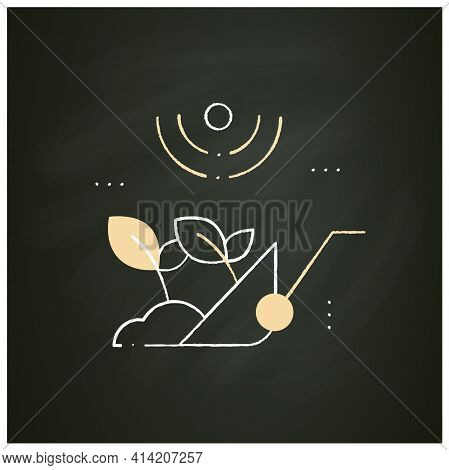 Harvesting Chalk Icon. Process Of Gathering A Ripe Crop From The Fields. Harvest Using Machines Or B