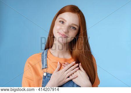 Touched Romantic Tender Cute Redhead Feminine Girl Blue Eyes Tilting Head Melting Heartwarming Gestu