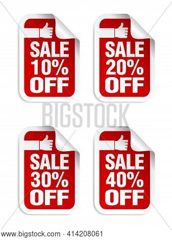 Red Sale Stickers Set. Best Choice. Sale 10%, 20%, 30%, 40% Off. Vector Illustration