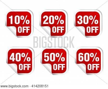 Sale Red Sticker Icon Set. Sale 10%, 20%, 30%, 40%, 50%, 60% Off. Vector Illustration