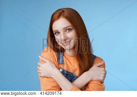 Romantic Sensitive Flirty Young Redhead Girlfriend Feel Warmth Embraces Hugging Herself Hands Crosse