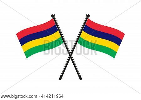 National Flags Of Mauritius In The Original Colours Crossed On The Sticks